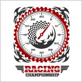 Car racing emblem and championship race badge Royalty Free Stock Photography