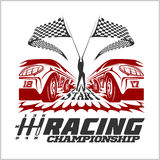 Car racing emblem and championship race badge Royalty Free Stock Images