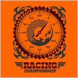 Car racing emblem and championship race badge Stock Photo
