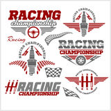Car racing emblems and championship race vector Stock Photo