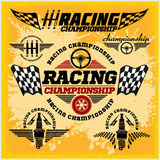 Car racing emblems and championship race vector. Set of car racing emblems and championship race vector badges Stock Images