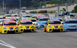 Car Racing,FIA WTCC. FIA WTCC race,START:in SPAIN,Circuit Valencia, May 18. 2008. START,SEAT Sport,Chevrolet Lacetti Stock Photography