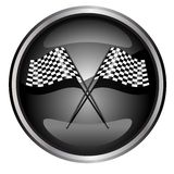 Car racing flag. Black and white checkered formula one  button vector illustration isolated on white background Royalty Free Stock Image