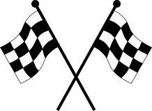 Car racing flags. In checkered black and white color Royalty Free Illustration