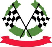 Car racing flags. Racing flags with a wreath and banner Royalty Free Illustration