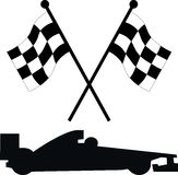 Car racing flags. Racing flags with a racing car Stock Illustration