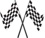 Car racing flags. Crossed car racing flags illustration Stock Illustration