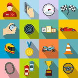 Car racing flat icons Stock Photos