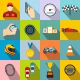 Car racing flat icons Stock Photos