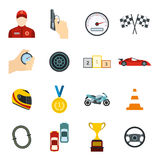 Car racing flat icons Royalty Free Stock Photography