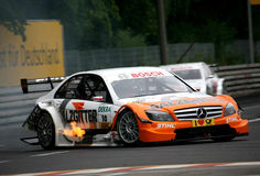 Car Racing(Gary Paffett,DTMrace). Gary Paffett(GBR), DTM: in GERMAY, Circuit Norisring. June 28. 2009. Mercedes C-Klasse 09,#Salzgitter AMG Royalty Free Stock Photos
