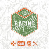 Car racing hexagonal emblem. In retro style. Graphic design for t-shirt. Color print on a white background Royalty Free Stock Photography