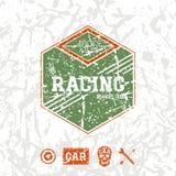 Car racing hexagonal emblem Royalty Free Stock Photography