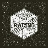 Car racing hexagonal emblem Stock Photography