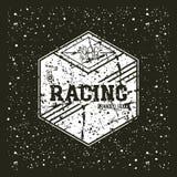 Car racing hexagonal emblem Stock Photography