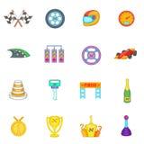 Car racing icons set, cartoon style Stock Image