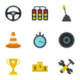 Car racing icons set, flat style. Car racing icons set. Flat illustration of 9 car racing vector icons for web Stock Photography