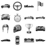 Car racing icons set, gray monochrome style. Car racing icons set. Gray monochrome illustration of 16 car racing vector icons for web Royalty Free Stock Photography