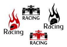 Car racing and motorsport icons Royalty Free Stock Images