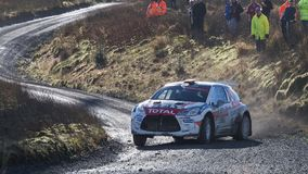 A car racing on the Myherin Rally track in Wales. Royalty Free Stock Photos