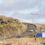 A car racing on the Myherin Rally track in Wales. Stock Photos
