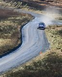 A car racing on the Myherin Rally track in Wales. Stock Image