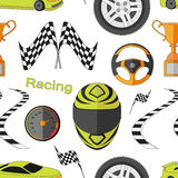 Car Racing pattern. Stopwatch and speedometer, tire and pedestal, helmet and cup, winning finish, flag and speed competition. Vector illustration, EPS 10 Stock Photos
