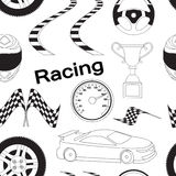 Car Racing pattern. Stopwatch and speedometer, tire and pedestal, helmet and cup, winning finish, flag and speed competition. Vector illustration, EPS 10 Royalty Free Stock Image