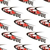 Car racing seamless pattern. With fast red car Royalty Free Stock Photography