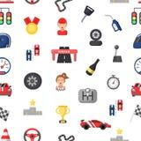Car racing seamless pattern. Vector flat car racing icons royalty free illustration