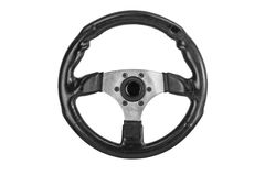 Car racing sport steering wheel with soft black shammy leather and ergonomic handle isolated on a white background.  stock images