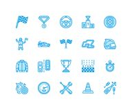 Car racing vector flat line icons. Speed auto championship signs - track, automobile, racer, helmet, checkered flags. Steering wheel, start. Pixel perfect Stock Photo