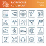Car racing vector line icons. Speed auto championship signs. Track, automobile, racer, helmet, checkers flags, steering wheel. Linear pictogram set with Stock Photos