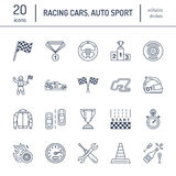 Car racing vector line icons. Speed auto championship signs - track, automobile, racer, helmet, checkers flags, steering. Wheel. Linear pictogram set with Royalty Free Stock Photos