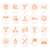 Car racing vector line icons. Speed auto championship signs - track, automobile, racer, helmet, checkers flags, steering. Wheel. Linear pictogram set with Stock Photos