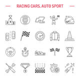 Car racing vector line icons. Speed auto championship signs - track, automobile, racer, helmet, checkers flags, steering. Wheel. Linear pictogram set with Stock Photography
