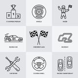 Car racing vector line icons. Speed auto championship signs - track, automobile, racer, helmet, checkers flags, steering. Wheel. Linear pictogram set with Royalty Free Stock Images