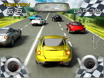 Car racing video game. Screen Stock Photo