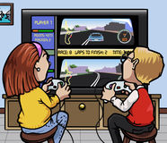 Car racing videogames. Cartoon-style illustration: two kids (one girl, one boy) playing a car racing videogame on a huge screen Stock Photography