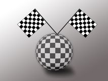 Car racing world. Checkered flag and ball to form a car racing world Royalty Free Stock Images