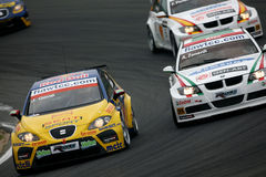 Car Racing,WTCC,SEAT Leon(Jordi GENE) Royalty Free Stock Image