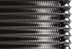 Car radiators. Various automobile radiators for engine cooling systems for air conditioning, for heating the passenger compartment, for cooling the oil in an Royalty Free Stock Images