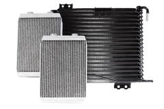Car radiators. Various automobile radiators for engine cooling systems for air conditioning, for heating the passenger compartment, for cooling the oil in an Royalty Free Stock Image