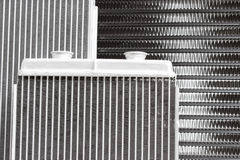 Car radiators. Various automobile radiators for engine cooling systems for air conditioning, for heating the passenger compartment, for cooling the oil in an Stock Image
