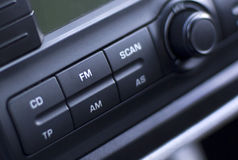 Car radio. Closeup of a car radio panel Stock Photography