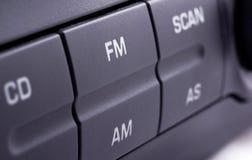 Car radio. Closeup of a car radio panel stock photo