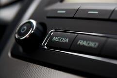 Car radio detail. Car radio button Media detail stock photo
