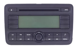 Car radio panel isolated. Isolated front view of a car radio panel stock photography