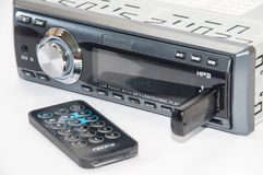 Car radio player with remote and usb flash. Car radio player with IR remote and usb flash memory stick Stock Images