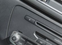 Car radio stereo panel and modern dashboard electric equipment. Close Royalty Free Stock Image